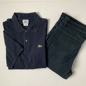 Men's Lacoste Navy Shirt Sleeve Polo Size Large